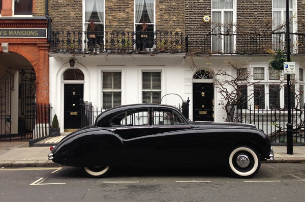 Time-travelling Mk VII Jaguar takes a break in London before transit to Hollywood on the Queen Mary