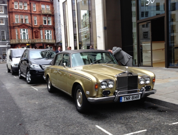 Back to the future? Gold Rolls-Royce in Mayfair partying like it's 1974