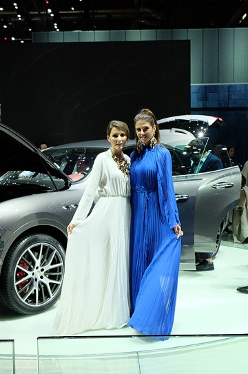 New Maserati Levante 4x4 debuted at Geneva. The models' dresses covered their Wellington boots