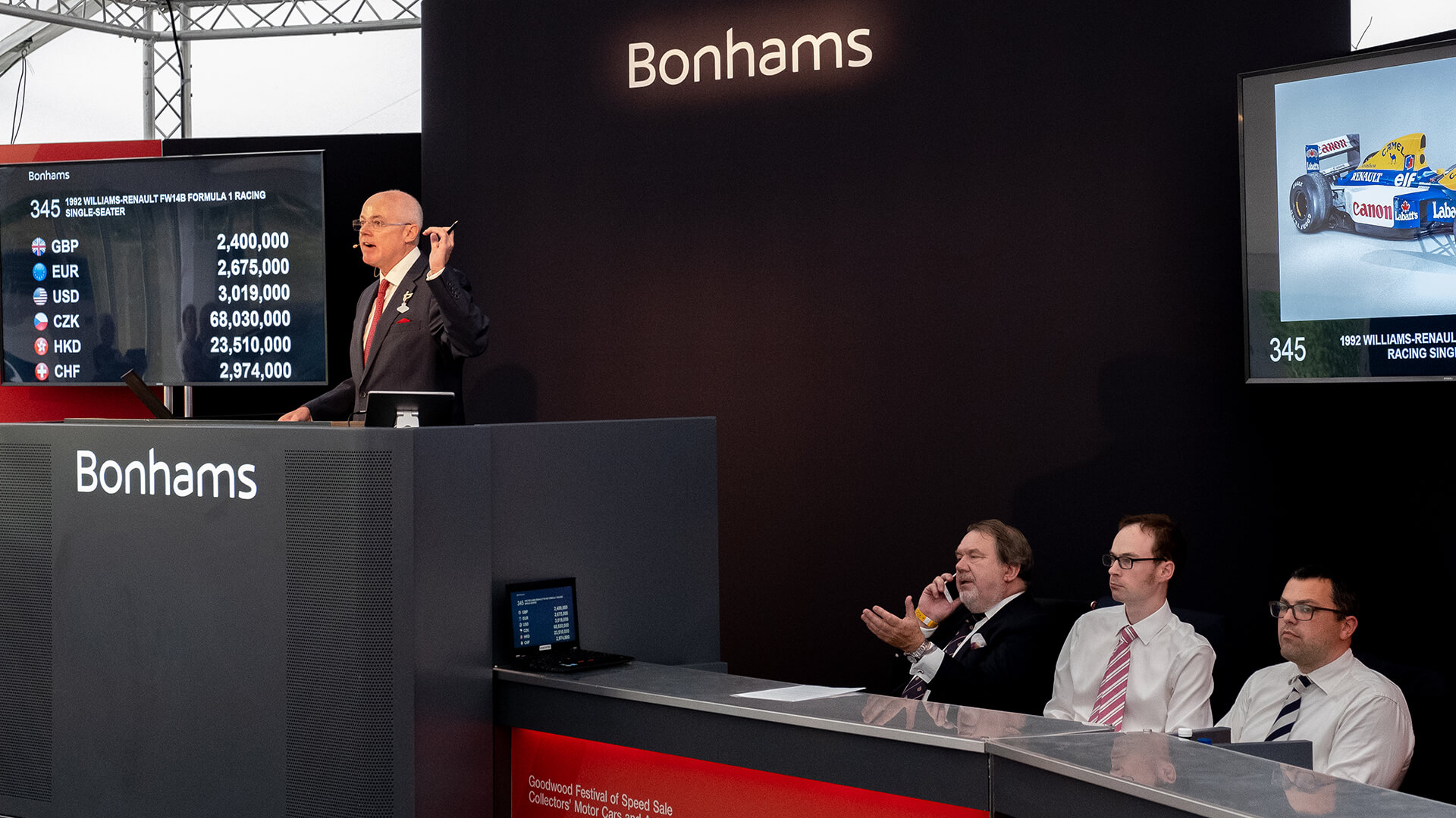 Bonhams' £7.9m Goodwood Festival sale: Mansell's Williams wins again
