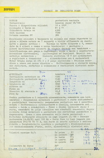 The original Ferrari press hand-out for the BB in 1973 with annotations by  Mel
