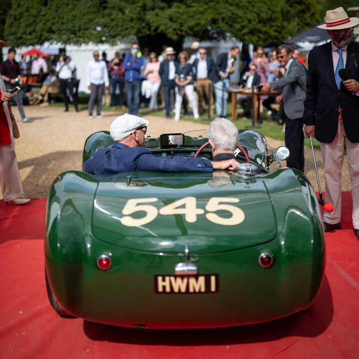 Concours of Elegance, September 2020. Peter prepares to drop the clutch on the ferocious HWM Jaguar. The red carpet did not survive the experience (Riiko Nuud)
